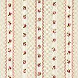 Fabulous Fabrics Dekostoff Natur – Rosen und Streifen rot