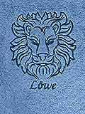 Duschtuch mit Sternzeichen 8 Löwe (Geburtstag 23.07. - 23.08.), hochwertig bestickt, 70x140cm, Farbe: Fjord/Blau, Stickfarbe Tierkreiszeichen: Blau