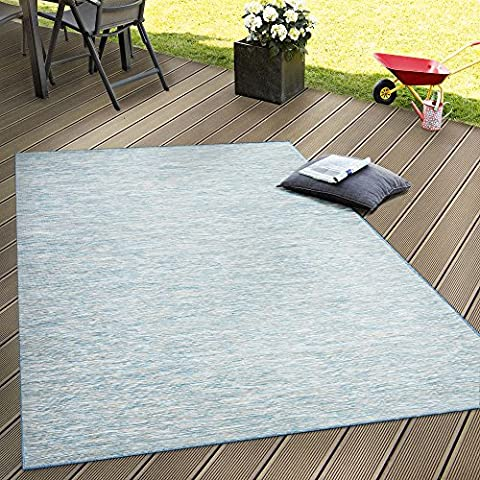 Indoor & Outdoor Flat Woven Rug Patios Rugs With Blue Colour Gradient, Size:140x200 cm