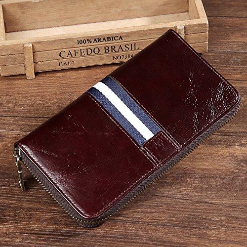 Leder Herren Brieftasche, große Kapazität lässige Leder, langer Reißverschluss Tasche, bräunlich schwarz Brown