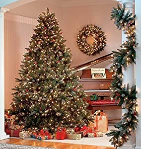 The Christmas Workshop Pre Lit Frosted Berry Christmas Tree,200 Warm White LED Lights