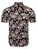 Burlady Herren Sommer Kurzarmhemd Blumenprint Hawaiihemd Hawaiishirt Freizeithemd Urlaub Hawaii-Print Gr:-L, Farbe:-Schwarz 2