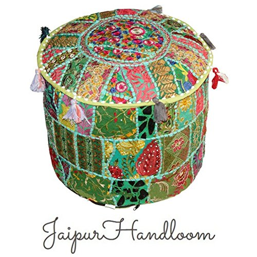Jaipur Handloom JaipurHandloom Indian Green Pouf Stool Vintage Patchwork Embellished With Patchwork Living Room Ottoman Cover, 46 X 33 Cm or 18X13 inches
