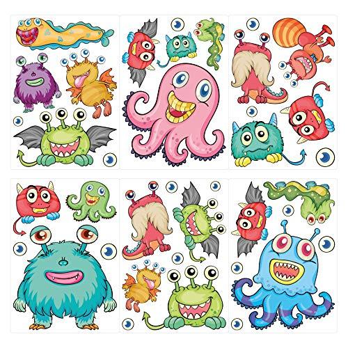 dekodino Wandtattoo Kinderzimmer Wandsticker Set Farbenfrohe Monster Figuren Stück zum K