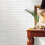 Autocollant Mural,Bovake 3D Papier peint bricolage PE mousse Stickers muraux Décor mur Stickers carrelage gaufrée Wall Stickers (60 X 60 X 0.8cm) (blanc)...