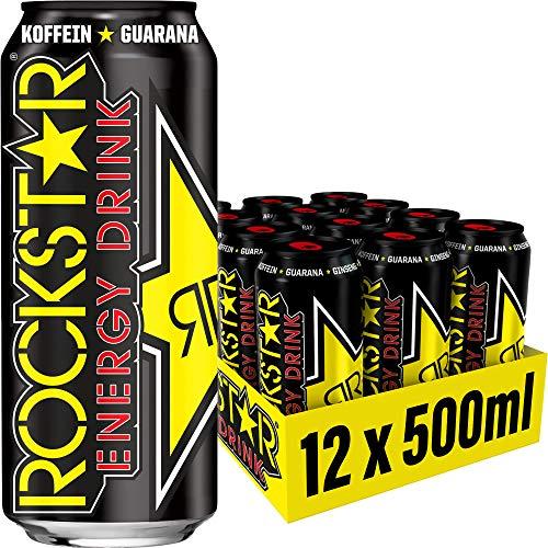 Rockstar Energy Drink Original - Koffeinhaltiges Erfrischungsgetränk für den Energie Kick, EINWEG (12x 500ml)