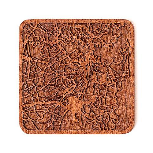 Sydney Stadtplan Untersetzer, One piece, Sapele Wooden Coaster with city map, Multiple city optional, Handmade