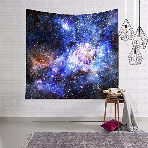 QuanCheng Nebel Tapisserie Set Colorful Universe Galaxy Space Wanddekoration für Schlafzimmer Wohnzimmer Wohnheim Decor, Polyester, 6, 59x51