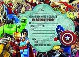 Jungen Geburtstag Party Einladungen Lego Hero. Lego Marvel Hero, X 10Karten + Umschläge, 10 Invites