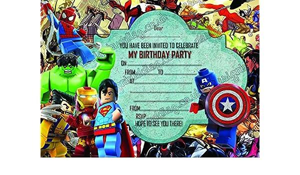 Einladungskarten Fur Jungen Mit Motiv Der Lego Helden Aus Dem Marvel Universum 10 Karten Umschlage Invites