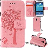 Ooboom® Samsung Galaxy S4 Mini Case Cat Tree Pattern PU Leather Flip Cover Wallet Stand with Card/Cash Slots Packet Wrist Strap Magnetic Clasp for Samsung Galaxy S4 Mini - Pink