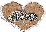 Fußabdruck im Sand Herzform im 3D-Look , Wand- oder Türaufkleber Format: 62x43.5cm, Wandsticker, Wandtattoo, Wanddekoration