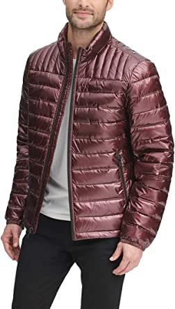 DKNY Men's Water Resistant Ultra Loft Quilted Packable Puffer Jacket Down Alternative Coat