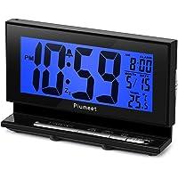 Réveil électronique avec lumière de Nuit Automatique, Grand réveil LCD numérique avec l'Affichage température, Fonction Snooze en luminosité de 2 Niveaux, Alimentés par Piles (Bleu)