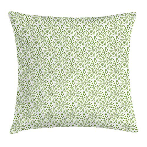 RAINNY Dandelion Throw Pillow Cushion Cover, Abstract Garden Composition Monochrome Flower Illustration with Stripes Dots, Decorative Square Accent Pillow Case, 18 X 18 inches, Green and White -
