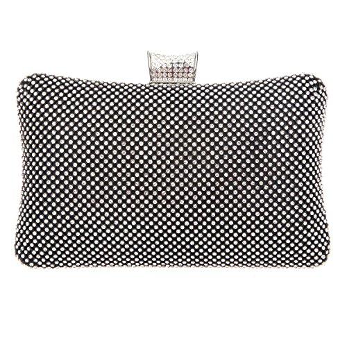 Bonjanvye Evening Bags for Women Rhinestone Crystal Clutch Bag Pure Black Black