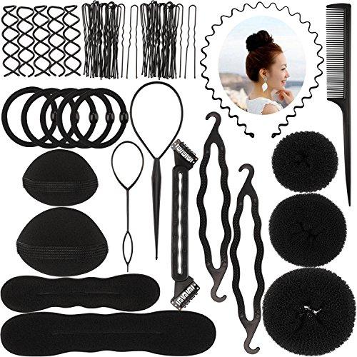 Newland 64 Stück Haare Frisuren Set,DIY Frisurenhilfe Set, Haare Styling Set, Haar Clip-Pads, Haar Frisur Klammer, Haar Styling Werkzeug Set, Haar Styling Zubehör,Haar Styling festgelegt Kit (schwarz)