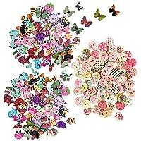 Tomkity 200pcs Colores Pintados Botones de Madera para Costura Manualidades Bricolaje