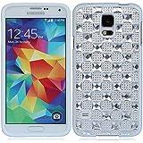 Bling strass kristall diamant Plaid hülle schale abdeckung case cover für Samsung Galaxy S5 SV S V I9600_weiß