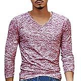 Herren Hemd T-Shirt V Neck Langarm Top Slim Bluse Outwear Von Xinan (XXXL, Rot)