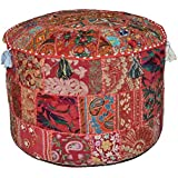 """Indian Living Room Pouf, Foot Stool, Round Ottoman Cover Pouf,Traditional Handmade Decorative Patchwork Ottoman Cover,Indian Home Decor Cotton Cushion Ottoman Cover 22x15""""inche (Red)"""