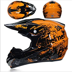 Jwl Motocross Helm Orange Floral Herren Cross Helm Mit Brille Maskenhandschuhe 4 Stück Adult Motorrad Sport Damen Herren Downhill Helm Atv Mtb Quad Bike Motocross Helm L Auto