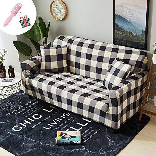 Elastisch Sofa Überwürfe Sofabezug, Morbuy Ecksofa L Form Stretch Antirutsch Armlehnen Geometrie Sofahusse Sofa Abdeckung Hussen für Sofa Couchbezug Sesselbezug (3 Sitzer,Plaid) -
