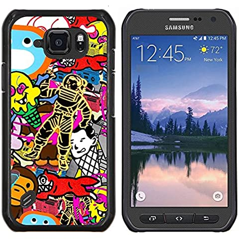 Copertura di plastica Shell Custodia protettiva || Samsung Galaxy S6 Active G890A || Carta da parati a caso Arte Spacesuit Fox scimmia @XPTECH
