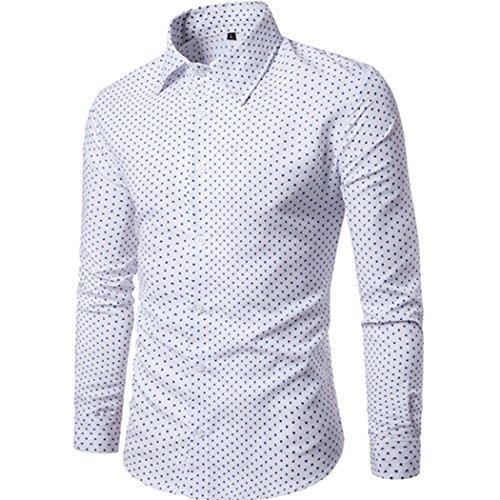 mioim Herren Hemd Langarm Slim Fit Punkt Druck für Business Freizeit Hochzeit Bügelfrei Basic Oberhemden Oberteile Bluse Top Baumwolle L-3XL Weiß (Brusttasche Punkt-kragen-hemd)