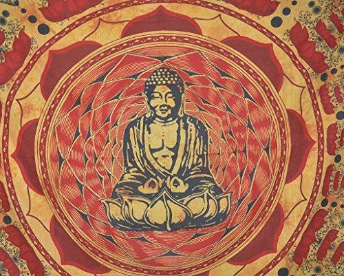 Buddha Tapisserie Meditation und Lotus Baumwolle Wandbehang Indian Tapisserie Beach Hippie Bohemian Wandteppiche Wall Art Baumwolle Buddha auf Lotus Flower Ethnic Dekorative Home Ying Yang Eastern Style Design (Art-deco-bettwäsche)