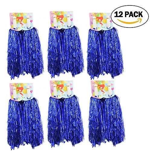 1 douzaine Cheerleading Pompons, CRIVERS 12pc Pom-pom girls Pompoms avec Poignée pour Ball Dance Déguisements Nuit Fête Des Sports (Bleu)