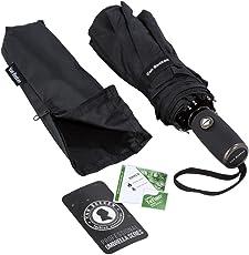 Regenschirm Taschenschirm VAN BEEKEN – windtest bei 140 km/h, Wasserabweisende Teflon-Beschichtung, klein, leicht & kompakt - Stabiler Schirm mit voll-automatischer Auf-Zu-Automatik, schwarz 95 cm