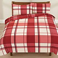 Dreamscene Thermal Duvet Cover with Pillow Case Check Tartan Brushed Fleece, Red, King