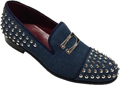 Mocassini, Slippers in Tessuto Jeans con Borchie