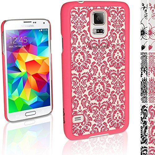 """igadgitz """"3D Designer Collection'' Pink Vintage Muster Hart Tasche Hülle für Samsung Galaxy S5 SV SM-G900 + Display Schutzfolie"""