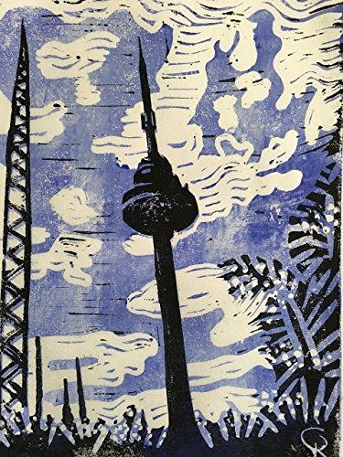 Fernsehturm Bremen Walle - Linolschnitt, von Hand einzeln gedruckt, etwa 15x20cm, Limitiert auf 10...