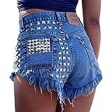 LAEMILIA Damen Jeans Bermuda Denim Shorts Hoch Taille Jeanshose Zerrissene Destroyed Boyfriend Kurzhose Rivet Jeansshorts mit Löcher