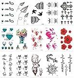 Chileeany Set di 15 fogli Tatuaggi temporanei,impermeabile tatuaggio temporaneo (105×60) mm