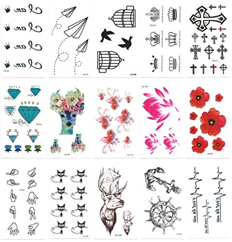 Chileeany-Lot-de-15-Tatouages-Temporaire-Tattoos-tanche-105-x-60-mmmotifs-varis