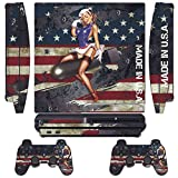 PlayStation 3 PS3 Slim Sticker - Aufkleber Schutzfolie für Sony Playstation 3 PS3 Slim Konsole mit 2 Aufkleber für Playstation DualShock 3 Wireless Controller battle torn strips