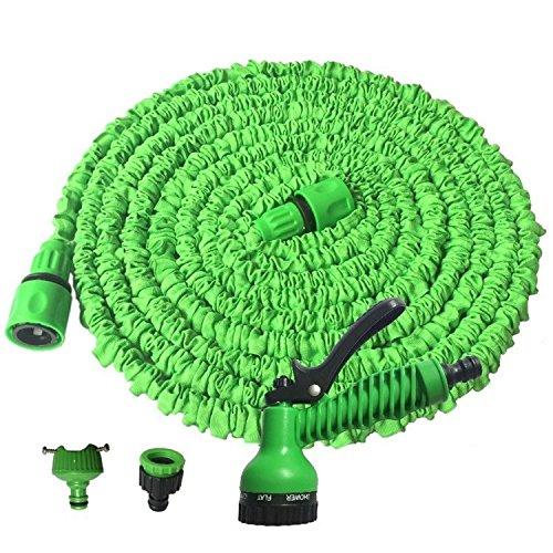 49ft Gartenschlauch, erweiterbar flexibler Schlauch Rohr mit 7Funktionen Spray Gun, 5m 15mm, grün
