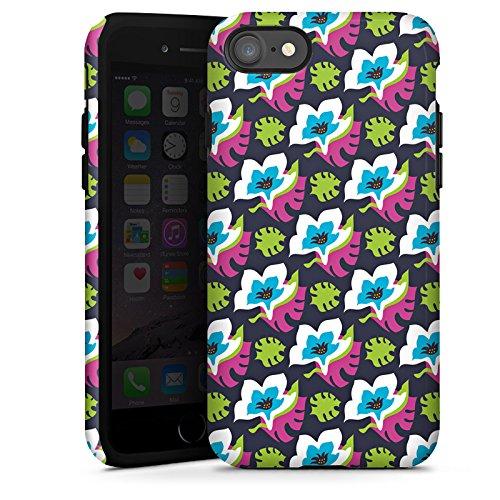 Apple iPhone X Silikon Hülle Case Schutzhülle Blumen Muster Bunt Tough Case glänzend