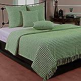 Homescapes Handgewobener Sofaüberwurf grün weiß Hahnentrittmuster 150 x 200 cm Plaid 100% reine Baumwolle Überwurfdecke mit Fransen
