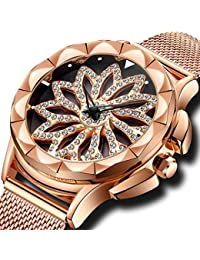 Womens Watches Ladies Waterproof Rose Golden Mesh Watch Unique Design Analogue Quartz Wrist Watches for Women Stainless Steel Band Luxury Business Dress Watches with Rotating Diamond Dial