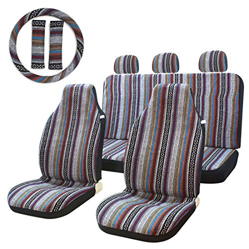10 pcs Stripe Colorful Sitz Cover Baja Sattel Decke Weave Universal Eimer Sitz mit Lenkrad Cover Vorne und Hinten