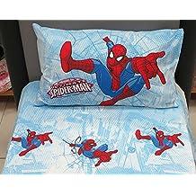 Sábana Spiderman Graphic azul individual (sopra cm.155x 280+ bajera 90x 200+ 1funda de almohada) Caleffi
