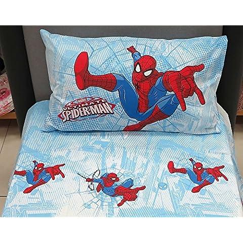 Spiderman Graphic azul sábana bajera ajustable franela de algodón sola hoja plana King (280x 180sobre en C/esquina hoja 130x 200cm 1funda de almohada Caleffi