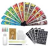 LuckyFine 12X Natürliche Tattoo Sticker, Luckyfine Wasserdicht Temporäre Tätowierung Kit, mit 165X Schablonen, 2X (Schwarz/Braun/Orange/Rose Rot/Blau/Grün), 1X Bürste/Kunststoffschaber, 4X Kunststoffdüse