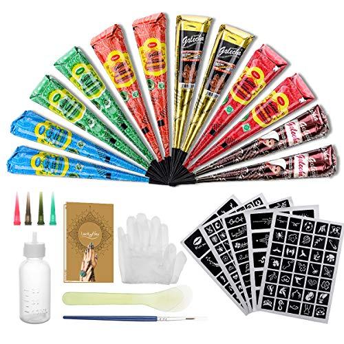 12X Natürliche Tattoo Sticker, Luckyfine Wasserdicht Temporäre Tätowierung Kit, mit 165X Schablonen, 2X (Schwarz/Braun/Orange/Rose Rot/Blau/Grün), 1X Bürste/Kunststoffschaber, 4X Kunststoffdüse