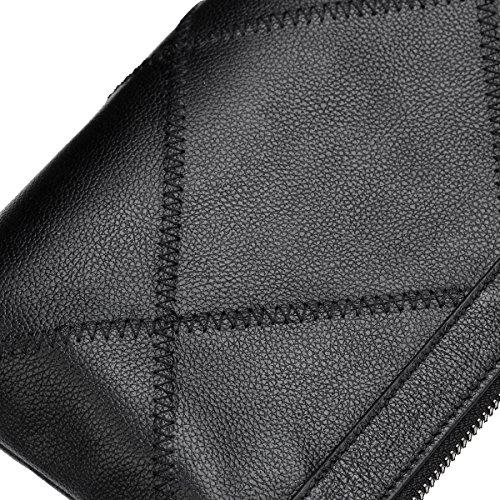 Pochette In Pelle Yy.f Borsetta Casual Da Uomo Busta Da Uomo Portafoglio Di Grande Capacità Borsa Da Lavoro Borsa Con Cerniera. Multi-size Black